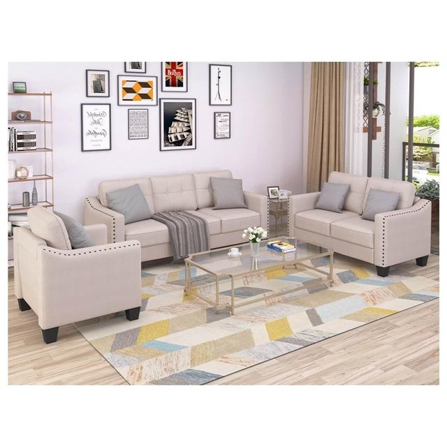 Living Room Set, 1 Sofa, 1 Loveseat And 1 Armchair  1