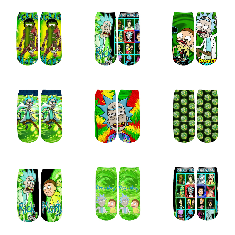 Newest Rick And Morty 3D Printed Cartoon Cute Short Ankle Socks For Men Women Harajuku Korean Socks  RS-009