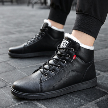 Winter Leather Shoes Boys Winter Snow Boots Casual Plush Lace Up Round Toe Mens Warm Boots 2020 Fashion Classic Style haraval handmade winter woman long boots luxury flock round toe soft heel shoes elegant casual warm retro buckle solid boots 289