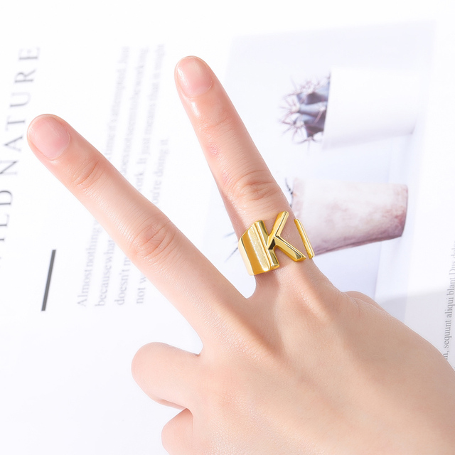 Adjustable A-Z Letter Ring For Women Gold Metal Opening Ring Initials Name Alphabet Female Party Fashion Jewelry Gift For Her 5