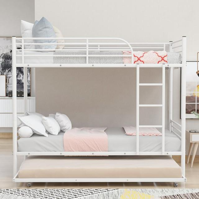White Metal Twin Over Twin Loft Bunk Bed  2