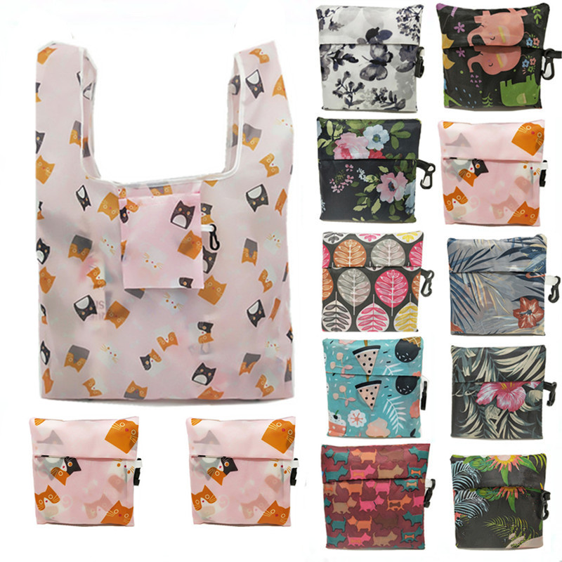 ETya Eco Tote Shopping Bag Animal Flower Print Women Foldable Recycle Grocery Storage Bag Fashion Female Supermarket Shopper Bag