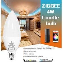 GLEDOPTO ZigBee LED Smart Bulb 4W E12/E14 Dimmable RGBCCT Color Change Candle Bulbs Compatible with Amazon Echo Plus AC100~240V