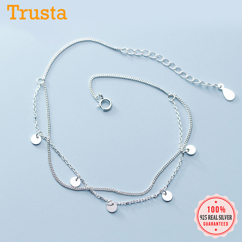 Trustdavis 925 Sterling Silver Fashion Sweet Double Layer Round Wafer Chain Anklets For Women Valentine's Day Gift Jewelry DA671