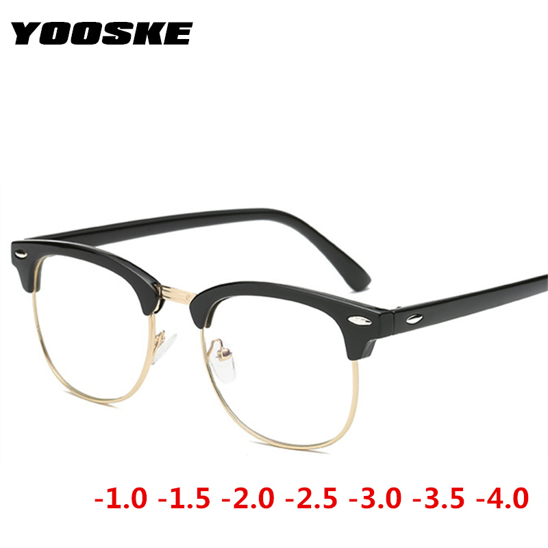 YOOSKE Half Frame Finished Myopia Glasses Women Men Brand  Vintage Short Sighted Sutdent Eyeglasses -1-1.5 -2 -2.5 -3 -3.5 -4
