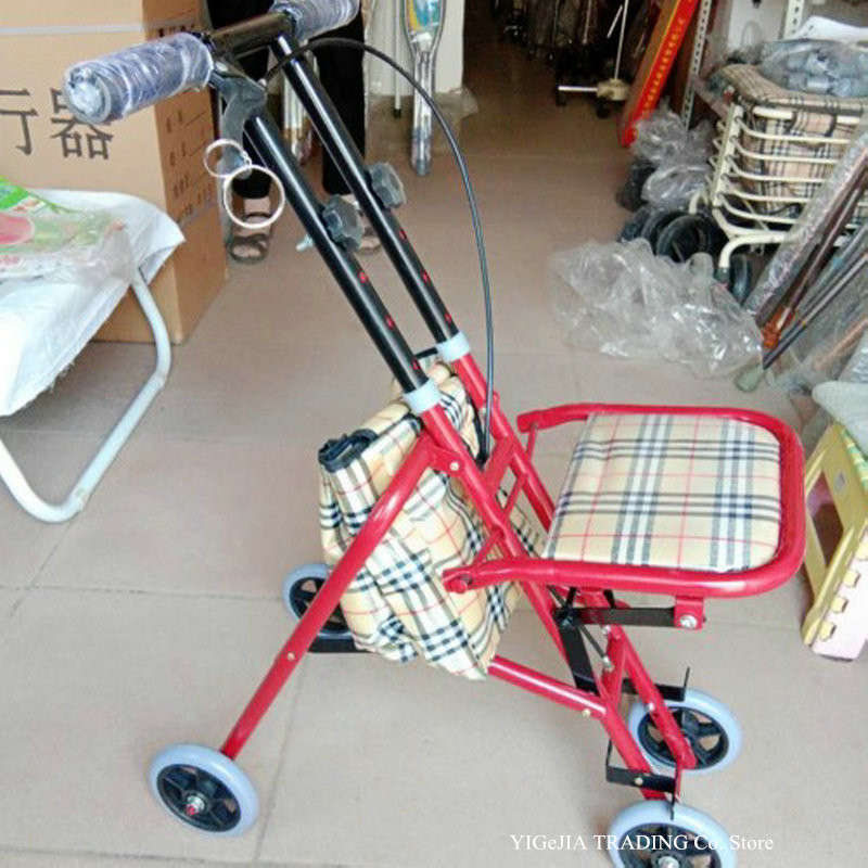Rolling Walker For Seniors, Four-Wheel Walker Folding Small Cart With Seat For Elderly, With Back Support And Shopping Bag