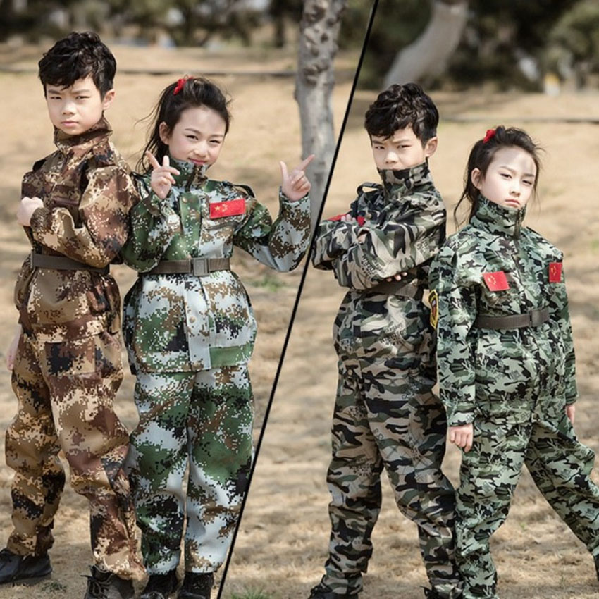2PCs Teenager Boys Girls Special Forces Camouflage Military Uniform Training Tactical Costumes Desert Combat Army Suit