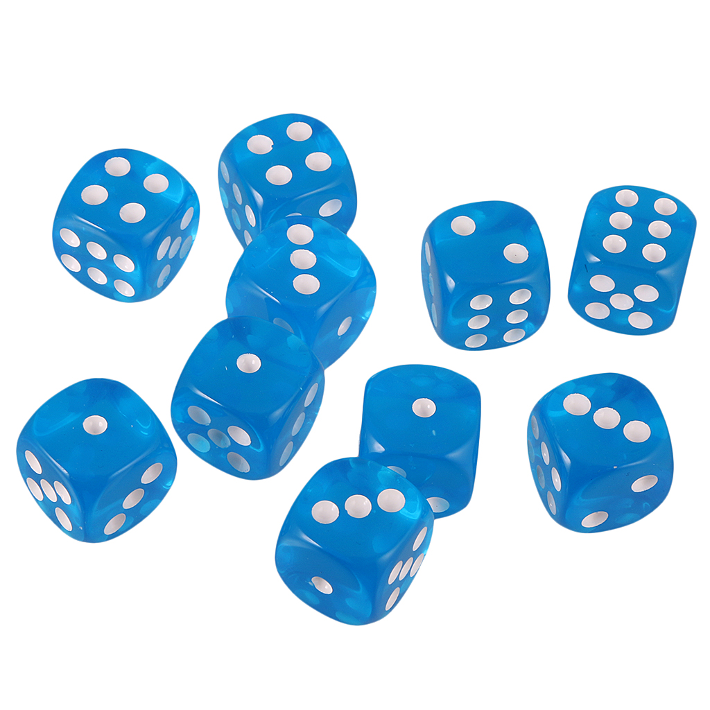 10pcs 6-sided Dice Game Noctilucent Dice for D/&D TRPG Game Pack of 10 Dice