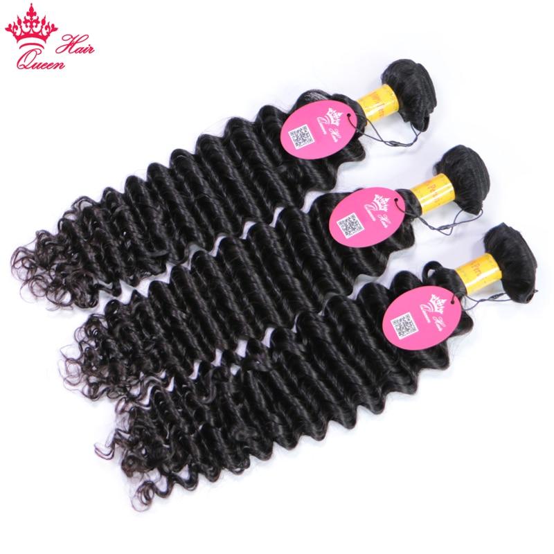 Queen Hair 100% Unprocessed Human Hair Peruvian Deep Wave Virgin Hair 3 Bundles with Lace Closure, Bundle with Closure 4pcs/lot