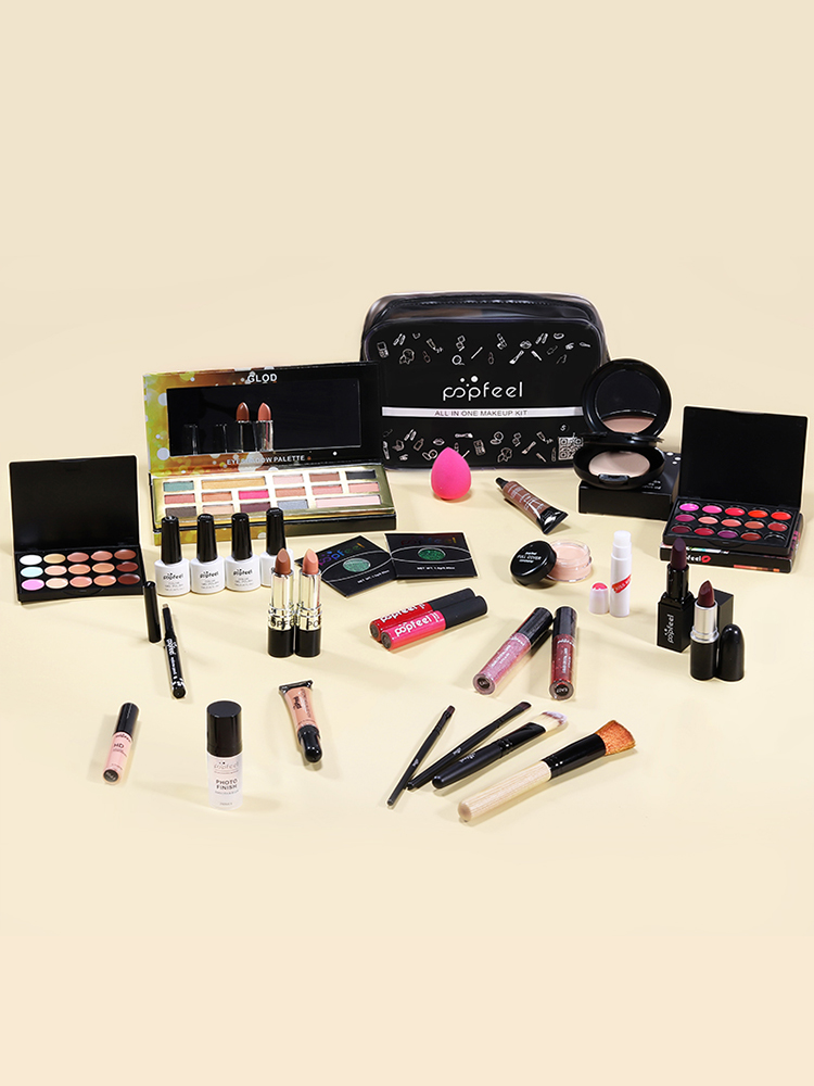 POPFEEL Eyeshadow-Lipstick Cosmetics-Kit Face-Powder Make-Up-Set Bb-Cream Polish-Nail-Eyebrow