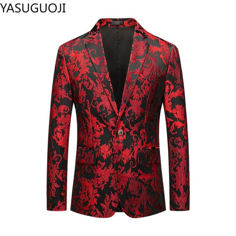 YASUGUOJI Men's Fashion Boutique High-end Brand Party Casual Blazer Coat Mens Red Floral Slim Business Suit Blazer Jacket Men
