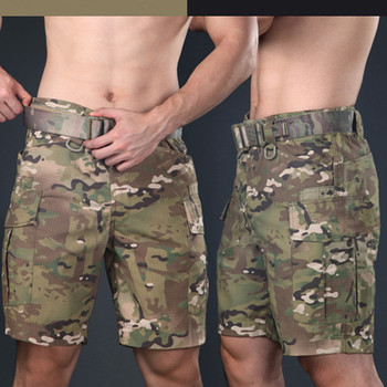 Summer Men Camouflage  Military Training Tactical Cargo Shorts Outdoor Hiking Riding Climbing Hunting Knee Length Short Trousers