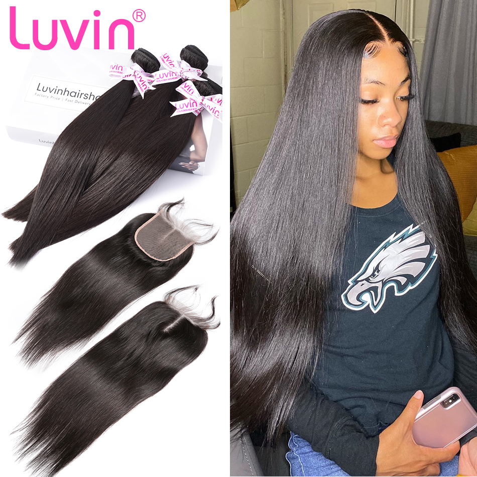 Luvin 28 30 32 40 Inch Brazilian Hair Weave Bundles Straight Human Hair 3 4 Bundles With Lace Closure Remy Hair Extension