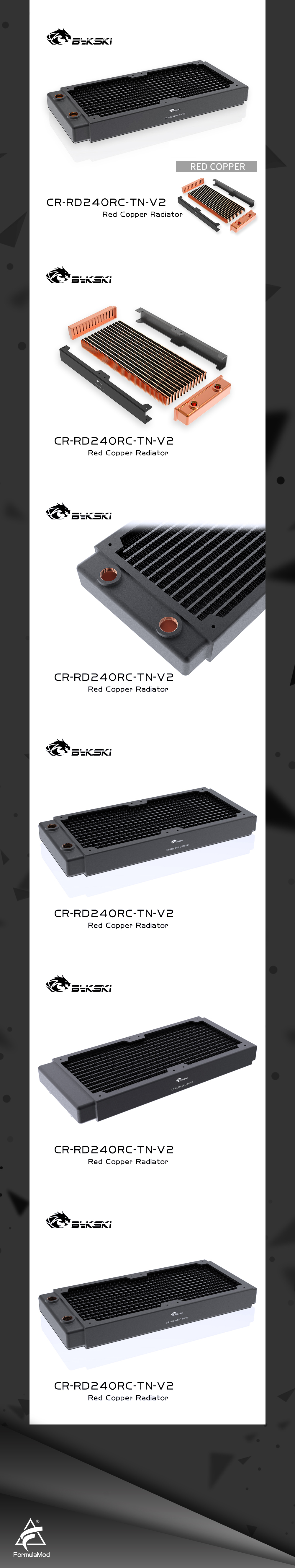 Bykski 240mm Copper Radiator RC Series High-performance Heat Dissipation 30mm Thickness for 12cm Fan Cooler, CR-RD240RC-TN-V2
