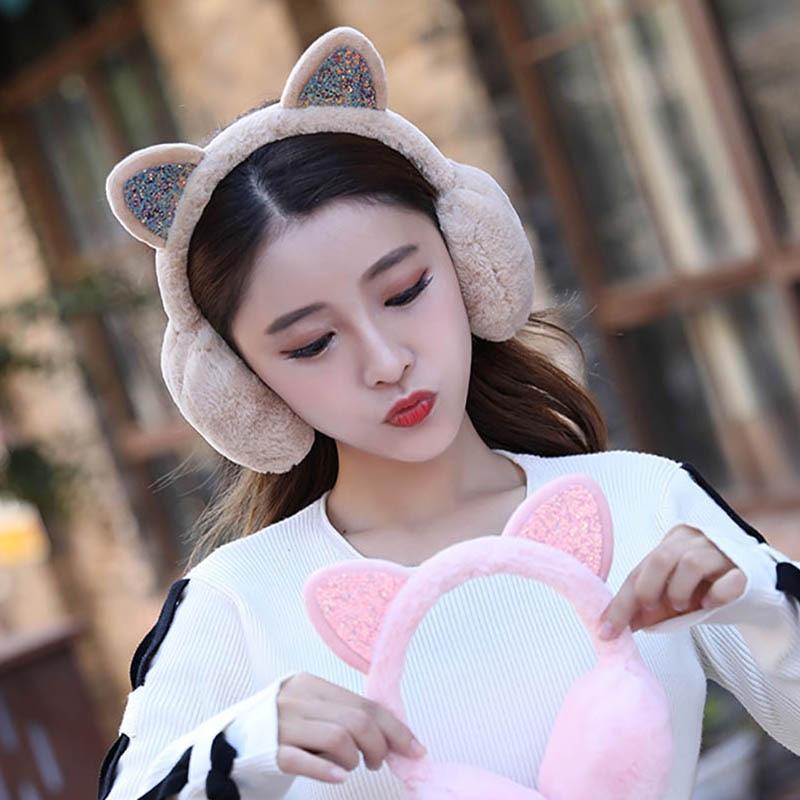 Calymel Women Kid Cute Earmuffs Ear Muffs Kids Lovely Cat Ear Muff Warmer Lovely Warm Ear Muffs For Kids Women Teenager Girls