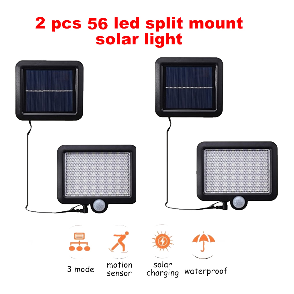 2/4pcs 100/56/30 Leds Street Lights Solar Outdoor Garden Lamp PIR Motion Sensor Wall Lamps Waterproof Patio Yard Path Night Ligh