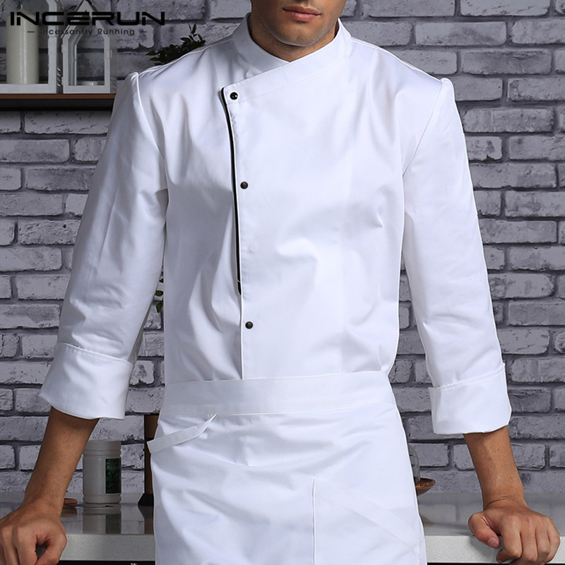 Men Chef Uniform Long Sleeve Kitchen Food Service Tops Single Breasted Overalls Restaurant Catering Cook Men Clothing INCERUN