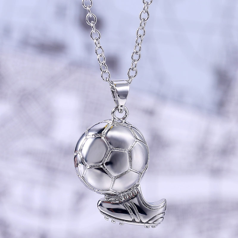 Silver Key chainSoccer Ball Inlay