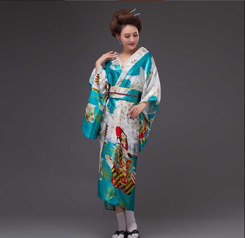 Women Japanese Kimono Yukata National Cosplay Costume Female Novelty Evening Dress In Pink Blue Yellow Yukata For Lady Plus Size