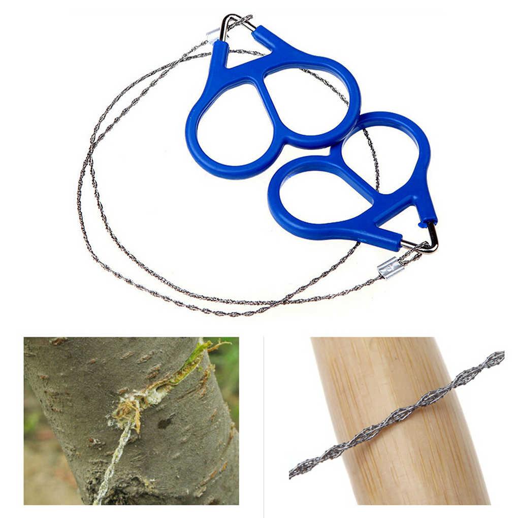 Sprzęt ratowniczy piły druciane ze stali nierdzewnej Outdoor praktyczne Camping piesze wycieczki instrukcja ręczna stalowa lina piły łańcuchowe narzędzia do przetrwania