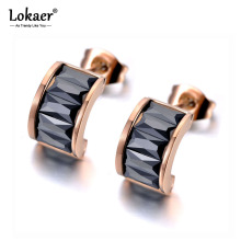Lokaer Sparkling Titanium Stainless Steel White/Black CZ Crystal Earrings Trendy Semicircle Stud Earrings For Women Girls E19323