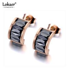 Lokaer Sparkling Titanium Stainless Steel White/Black CZ Crystal Earrings Trendy Semicircle Stud Earrings For Women Girls E19323