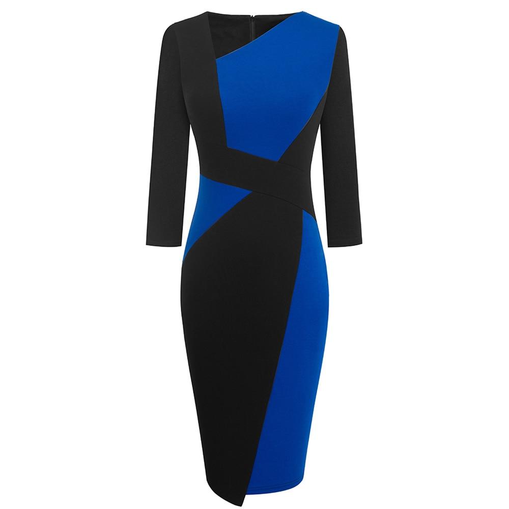 Vintage Women Patchwork Asymmetrical Collar Elegant Casual Work Office Sheath Slim Dress EB517 14