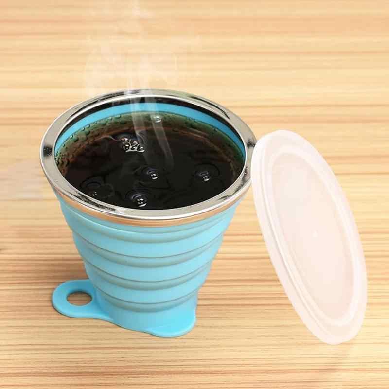 270mL מתקפל סיליקון כוס חיצוני נשלף שתיית ספל נסיעות כוס חיצוני ספורט מים ספל טלסקופים מתקפלים