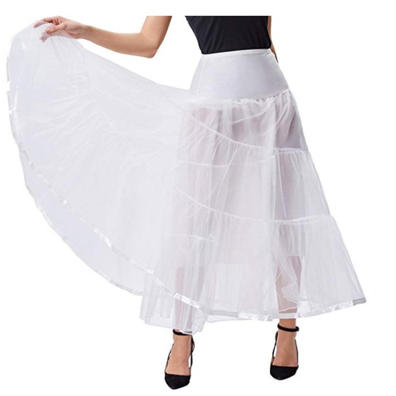 Summer Elegant Ladies Skirt Ankle Length White Pleated Long Skirt Petticoat Wedding Party Petticoat Slim Tulle Skirt