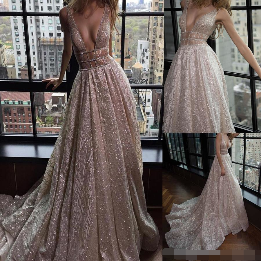 Spaghetti Straps A-Line Deep V-Neck Free Shipping Open Back Champagne Sequined Prom Dresses Beading Cutout Side Evening Dress