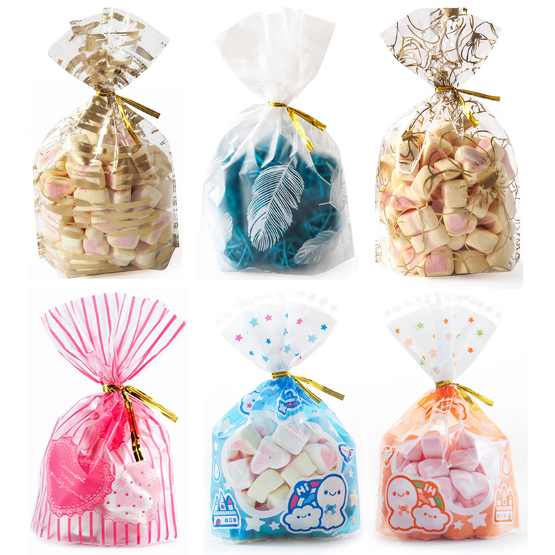 50pcs Small Plastic Packaging Bags Cookie Candy Bag Pink Love Christmas Wedding Gift Bags Biscuit Baking Cake Wrapper Pouches