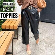 Черные брюки из искусственной кожи Осень Зима Высокая талия брюки из искусственной кожи женские широкие брюки pantalon femme