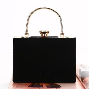 Image 5 - Elegant Velour Hard Surface Women Evening Bags Rectangle Box Bag Handbags Black Red Fashion Party Clutches Ladies bolsa feminina