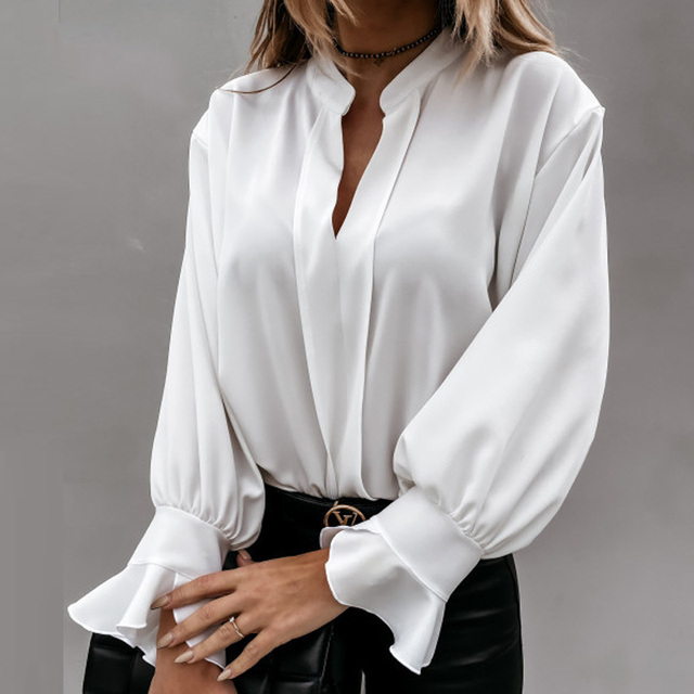 Diiwii Women Autumn Long Sleeve Tops Elegant Casual O Neck Solid Color Blusa Office Ladies Metal Button Basic Shirts Blouse 3