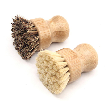 Useful High Quality Kitchen Cleaning Brush Sisal Palm Bamboo Short Handle Round Dish Brush Bowl Pot Brush Durable Cleaning Tool 5