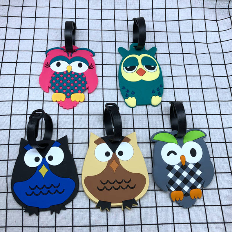 Fashion Animal Prints Owl Luggage Tags Portable Travel Accessories Silica Gel Suitcase ID Address Holder Baggage Boarding Label