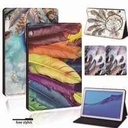 Кожаный смарт-чехол для планшета Huawei MediaPad T3 8,0/T3 10 9,6/T5 10/M5 Lite/M5 10,8 дюйма, перьевой чехол для планшета Honor Play Pad