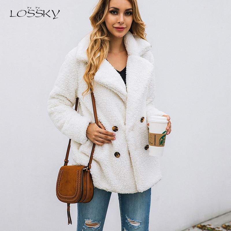 Lossky Women Long Sleeve Autumn Winter Thick Warm Jacket Coats Plus Size Loose Button Pocket Pink Innrech Market.com