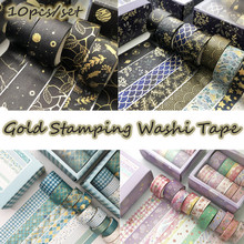 ZUIDID Gold Stamping 10pcs/set Washi For Scrapbooking Decorative Delicate Vintage Gold Stamping Washi Tape
