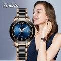 SUNKTA женские часы Лидирующий бренд Роскошные Стразы керамические спортивные кварцевые часы женские синие водонепроницаемые часы Relogio Feminino +...