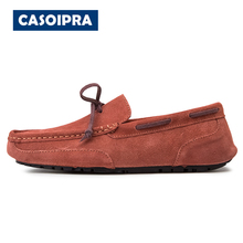 CASOIPRA Plus Size Men Loafers Soft Moccasins High Quality Genuine Leather Shoes Summer Suede Slip On Flats Male Driving Shoes new handmade casual shoes men high quality genuine leather soft loafers moccasins slip on male flats driving shoes lazy slippers