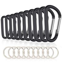 10PCS 3inch/8CM Aluminum Carabiner Clips Premium Durable D Ring Caribeaner with Keyring for Home RV Camping Fishing Hiking Trave|Climbing Accessories| |  -