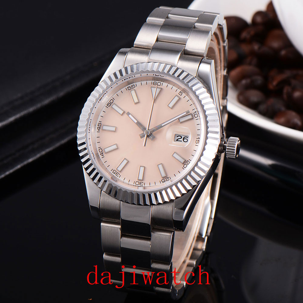 Parnis 40mm Beige dial sapphire glass automatic folding buckle mens watch
