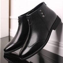Мужские зимние теплые кожаные ботинки, черные военные ботильоны на молнии с высоким берцем, мужские осенние удобные кроссовки, большой разм...