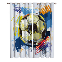 Football Watercolor Brush Sport Blackout Window Curtains Living Room Curtain Kitchen Blackout Curtains