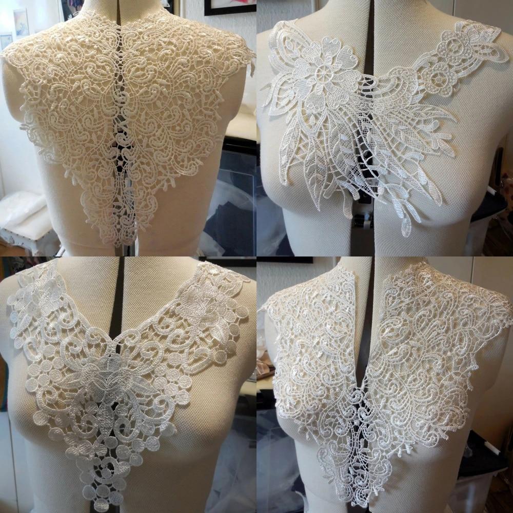 1Pc Color Lace Fabric Dress Applique Motif Blouse Sewing Trims DIY Neckline Collar Costume Decoration Accessories,508 green