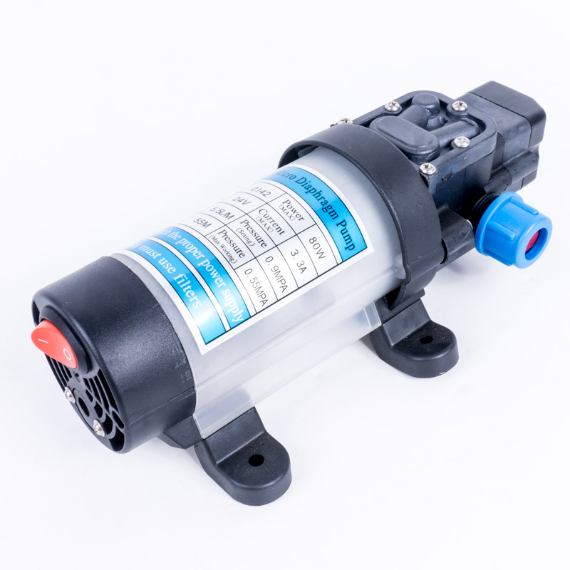 DC 24V 80W 130PSI 5.5L / Min Agricultural Electric Automatic Switch Water Pump Micro High Pressure Diaphragm Water Sprayer