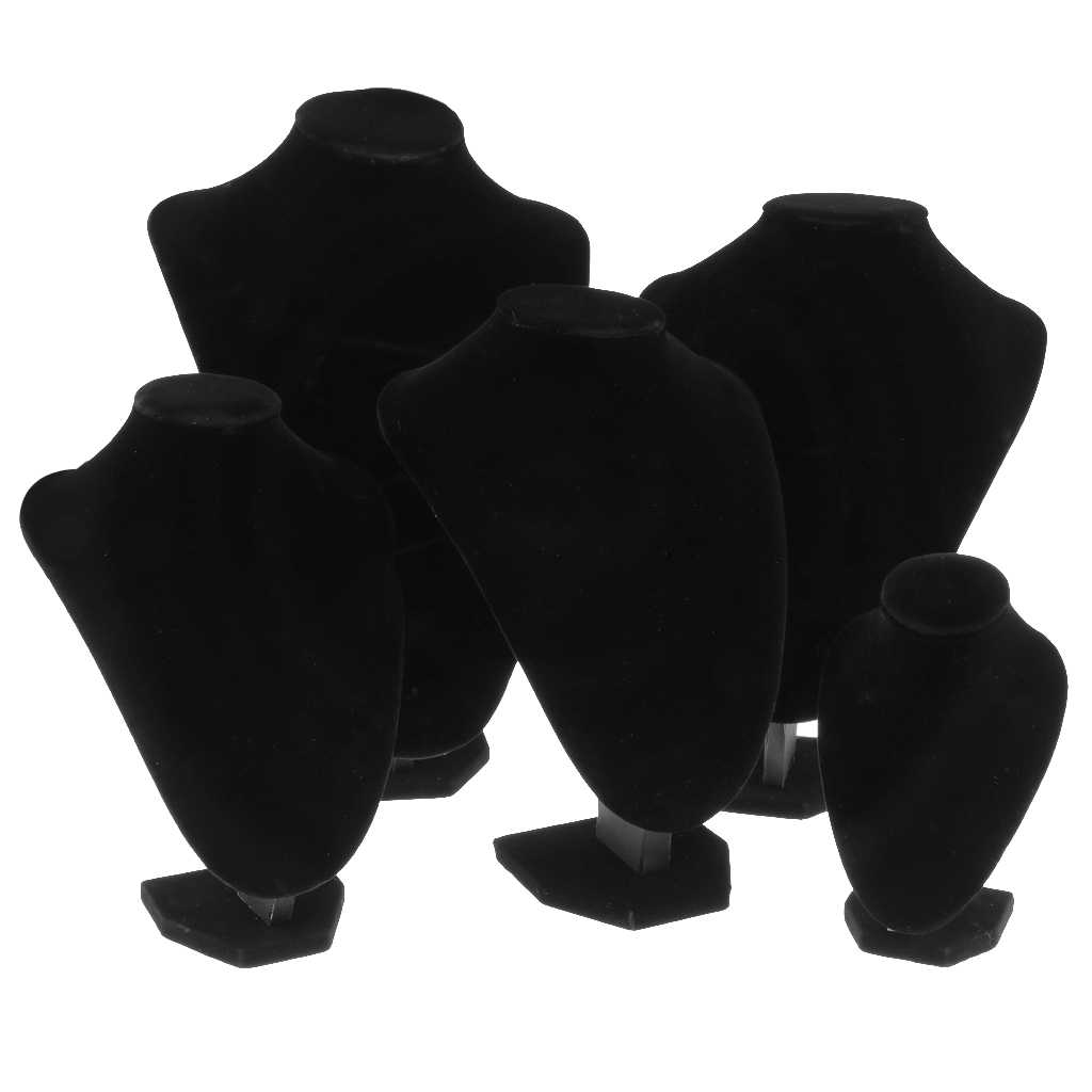 Velluto Gioielli Organizer Stand Nero Titolare Orecchino di Plastica Mannequin Del Supporto Del Basamento Cremagliera-4 Formati