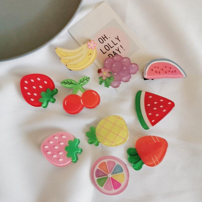 Girls Acrylic Fruit Hairpins Fashion Cute Seaside Clip Hairpin Korean Design Hair Clip Barrette Hair Accessories Women Girls Hai