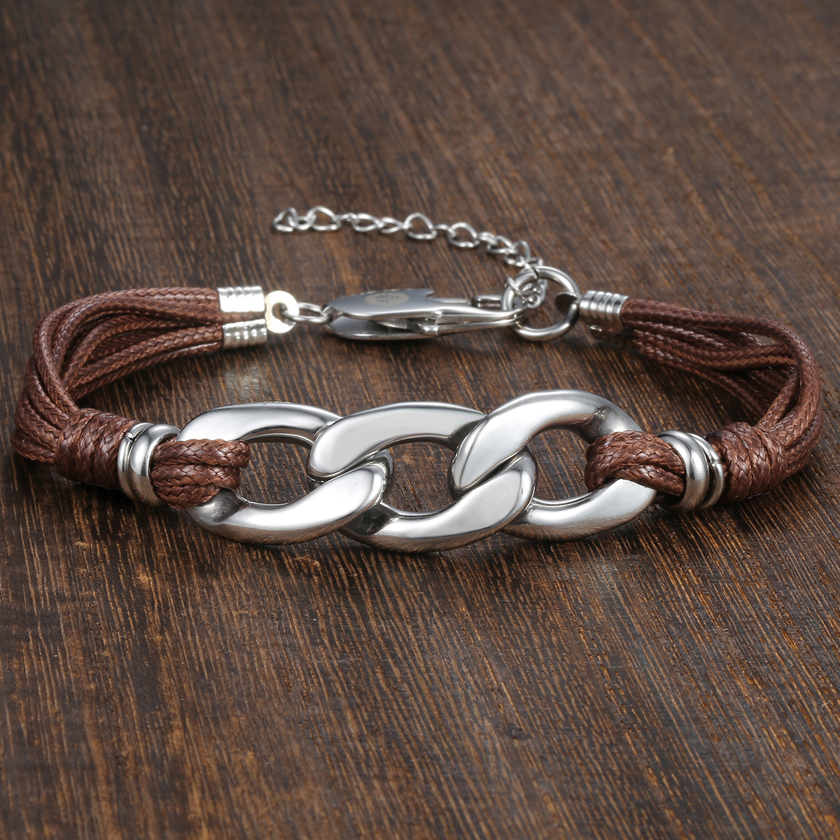 Cable Curb Link Leather Bracelet for Womens Mens Stainless Steel Black Brown Color Adjustable Lobster Clasp USA stock DLB30 Chain & Link Bracelets    - AliExpress